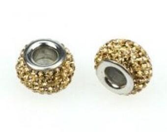 Gold Rhinestone Bead, Gold Charm, Large Hole Bead, European Bead, Charm Bead, Add a Bead, Charm Bracelet, European Charm
