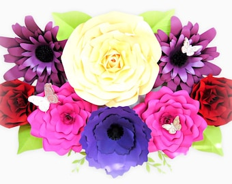 Giant Paper Flower Template Set of 4, Large Paper Flowers, Flower Wall Backdrop, DIY Paper Flower Templates