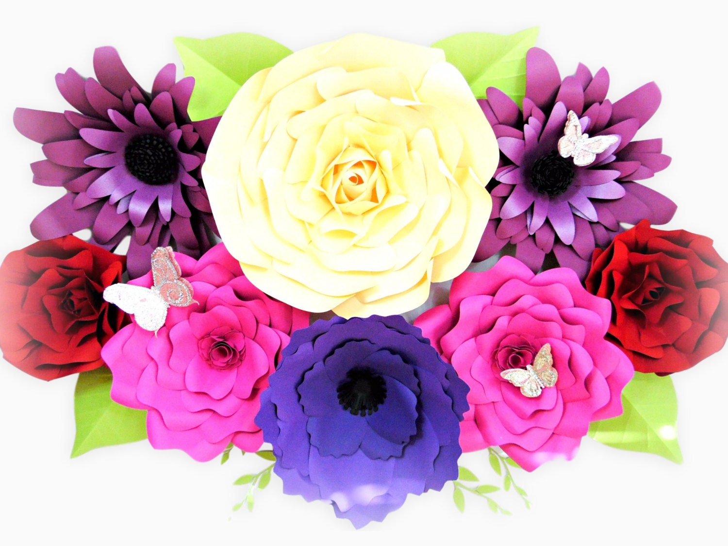 Giant Paper Flower Template Set of 4, Large Paper Flowers, Flower ...