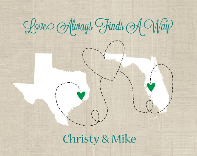 Love Always Finds A Way, Long Distance Love Art Print, Long Distance Relationship, World Map, Deployment Overseas Military Boyfriend Gift