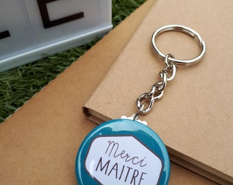 37mm key ring personalized thank you teacher blue duck