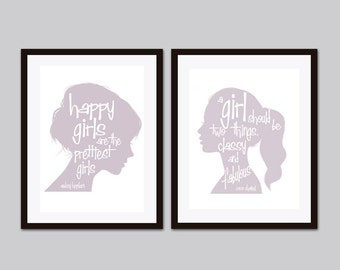 Audrey Hepburn Quote, Audrey Hepburn Wall Art,  Lilac Wall Art, Inspirational Quote, Girls Room Decor, Happy Girls are the Prettiest Girls