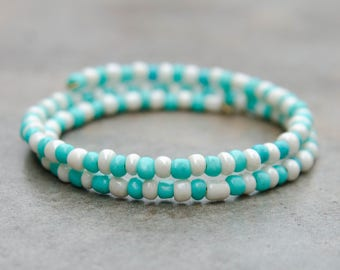 Baby Blue and White Seed Bead Bracelet