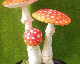 Deer head red and white dotted woodland dramatic mushroom sculpture