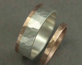 Rustikale Hochzeit Set - Hochzeit Band-Set - Hochzeit Ring Set - zwei-Ton-Band--zwei Ton-Ring - Recycling Goldringe--handgefertigte Eheringe - Unikat