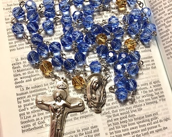 Larger Catholic Rosary - glass beads - blue with yellow pater beads