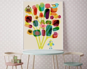 Children's Room Decor, Colorful Room Art, Mid-Century Modern Abstract Prints, Vintage Modern, Mid Century Art, Large 1950s Style, Eames,