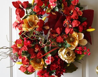 Red Wreath Burgundy Summer Wreath Oval Shape Lily Flowers Cream Magnolia Peony Roses and Berries