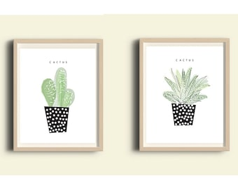 Wall art set, Cactus, Printable art, black and white prints, green, illustration print, set of 2 prints, living room decor, succulent  8X10