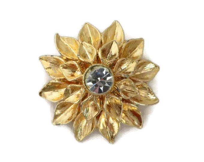 Gold Tone Flower Brooch, Vintage Rhinestone Center Floral Pin, Perfect Gift, Gift Box