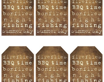 grungy tag set, primitive tags, craft supplies, scrapbooking - Summer Collage - digital PDF & jpeg - SMGT02