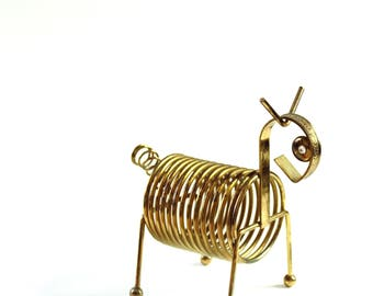 vintage metal spiral letter holder . animal shaped modernist coil mail caddy with rhinestone eyes . dog horse pony decor
