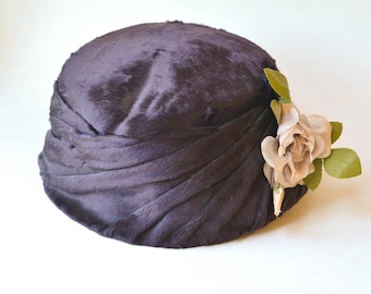 Velour Hat with Millinery Flowers, Vintage Hat