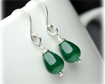Natural Jade Earrings, Sterling Silver Earrings, Green Earrings, Small Dangle Earrings, Drop Earrings, Handmade Jewelry, Gift for Mom