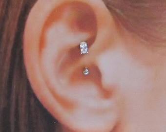 Daith Piercing Prung Set Oval cz Curved Barbell..16g..8mm..3mm ball