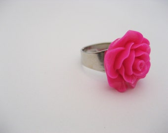 Hot Pink Flower Ring, Hot Pink Rose Ring, Kawaii Adjustable Ring, Statement Ring, Cosplay Jewelry Flower Jewelry,  Hot Pink Rose Jewelry