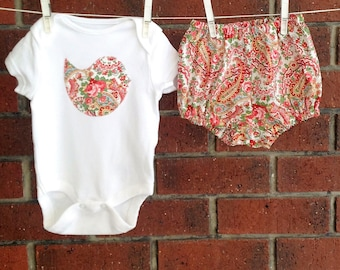 Baby girl clothes paisley //Pink and red paisley outfit // two piece set //cotton diaper cover and embellished bird bodysuit