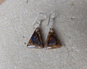 Unique Boulder Opal earrings - earthy, natural, purple blue brown -  handmade in Australia by NaturesArtMelbourne -  gem stone jewellery