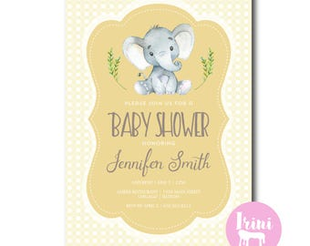 Neutral elephant baby shower invitation // yellow elephant baby shower invite // boy girl shower invite // elephant baby girl boy shower