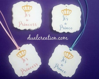BABY SHOWER TAGS/it's a prince/it's a princess/baby shower/boy/girl/royal
