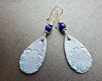 Blue polymer clay flower teardrop earrings with dark blue faceted jade on silver non tarnish wire