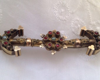 Victorian seed pearl and garnet gold filled brooch