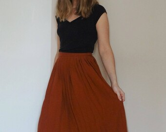 Brick color viscose skirt
