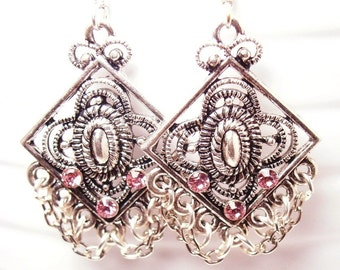 Light Rose Swarovski Crystal Earrings with Chains