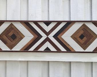 "12x48"" Rustic Wood Wall Art. Wooden Wall Art, Geometric Wall Art, Wall Art, Reclaimed Wood Art, Modern Wall Art,"