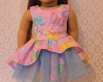Sparkly Butterfly Party Dress for 18 Inch Dolls