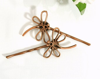Dragonfly Hair Pin Copper Bobbies Dragonfly Hair Jewelry Woodland Bobby Pins