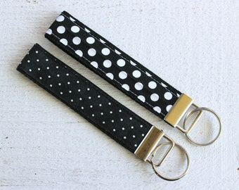 Key Fob Wristlet with Black with White Polka Dots, Choice of Size