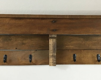 "Large Rustic Wood Coat Rack 45"" 7/8 x 11"" x 5"""