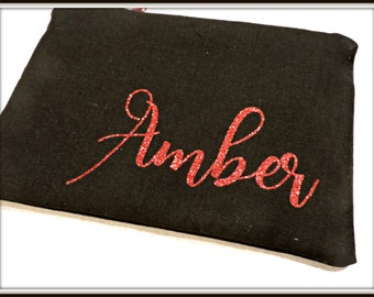 personalized red glitter cosmetic bag, black name bag, red name bag, wedding bag, best friend gift, bride organizer bag, engagement gift