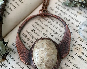 Rustic Winged Fossilized Coral Electroformed Necklace