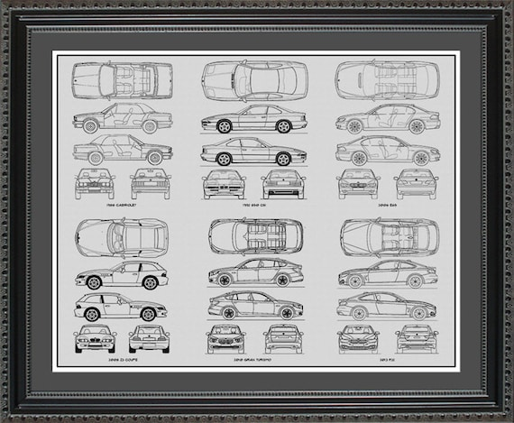 Bmw blueprint collection drawing art car auto gift bbmwo2024 malvernweather Choice Image