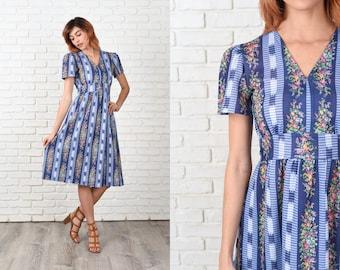 Vintage 70s Blue Mod Dress Striped Geometric Ikat Floral Small S 11325-1