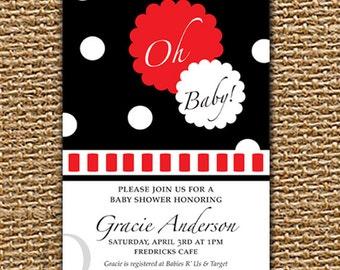 Custom Baby Shower, Printable Invitation, Baby Shower, Baby Girl Invitation, Baby Boy Invitation, Modern Invitation, Oh Baby Invitation