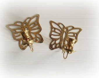 Vintage Brass Butterfly Wall Sconces, Brass Candle Holders, Boho Wall Decor, Eclectic Decor