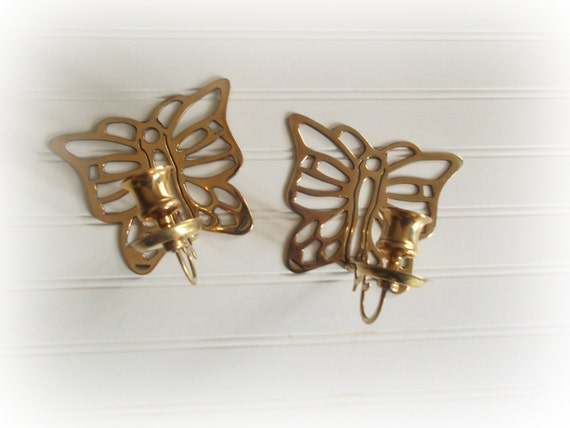 Vintage Brass Butterfly Candle Holders Set of Two