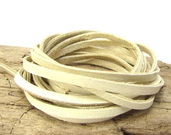 3mm Leather Cord, 3mm Natural Leather Deerskin, 2 Yards Natural Deerskin Lace, Natural Leather Cord, Beige Deerskin Leather Lace, Item 1583c