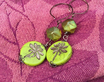 Metallic Lime Dragonfly Czech Glass Dangle earrings \\ Woodland Fairy \\Nature inspired \\Boho Jewelry
