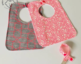 Baby Infant Toddler Bibs Bib Fluoro Pink Criss Cross Geo Geometric Cotton front Matching Soother Dummy Strap Clip Handmade Shower Gift