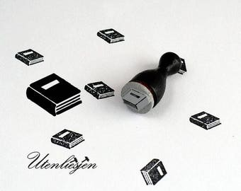 Stamp mini, book school book, rubber stamp Ø 12 mm