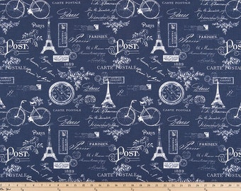 Navy Indigo and White Paris Curtains  Rod Pocket  63 72 84 90 96 108 or 120 Long by 24 or 50 Wide
