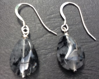 Sterling silver black rutilated quartz gemstone earrings