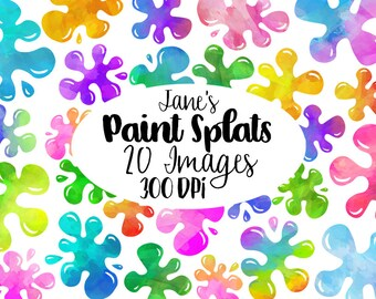 Watercolor Paint Splats Clipart - Slime Download - Instant Download - Silly Goop - Children's Crafts - Commercial Use