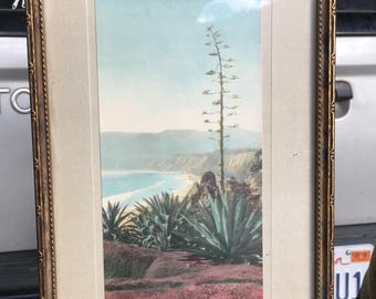 Vintage framed photo of Santa Monica Beach. 1930s Santa Monica.