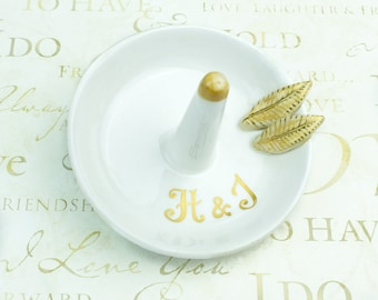 Personalized Ring holder dish BlueRoomPottery Bridesmaid gift yellow leaves Gold handwriting White jewelry storage, Wedding Gift for couple