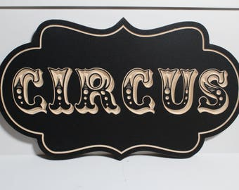 Wooden Carved Circus Sign | Vintage Antique Style | Carnival